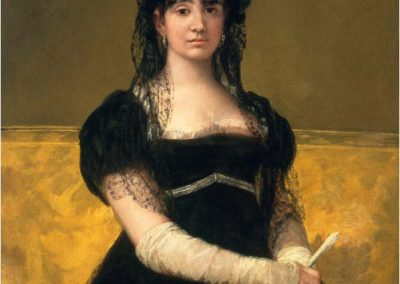 An oil painting, a portrait of a woman in a black dress.